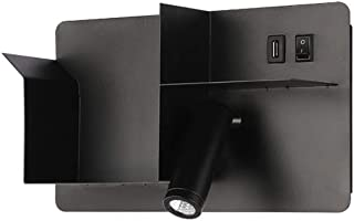 HHKQ Apliques de Pared para Lectura, Ajustable Focos de Pared de Interior Moderno Lámpara Mesita Noche con Interruptor y Puerto de Carga USB Aplique Pared Dormitorio con Interruptor,Negro,White Light