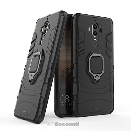 Cocomii Black Panther Ring Huawei Mate 9 Case, Slim Thin Matte Vertical & Horizontal Kickstand Ring Grip Reinforced Drop Protection Fashion Phone Case Bumper Cover for Huawei Mate 9 (Jet Black)