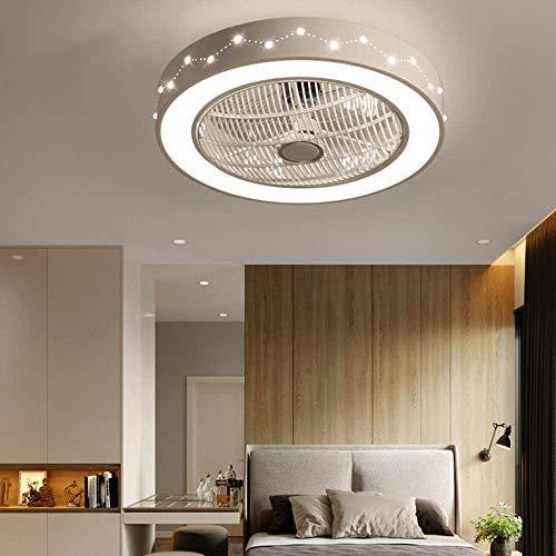 Ventilador de techo con iluminación, ventilador de techo con luz LED, velocidad del viento ajustable, mando a distancia regulable, 48 W, moderno, LED de techo silencioso, luz regulable sin niveles