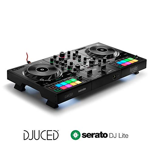 Hercules DJControl Inpulse 500 (2-Deck DJ Controller, Beatmatch Guide, IMA, 16 RGB Pads, integr. Soundkarte/Mixer, Mic-In, DJ Academy, DJUCED & Serato DJ Lite, PC/Mac)
