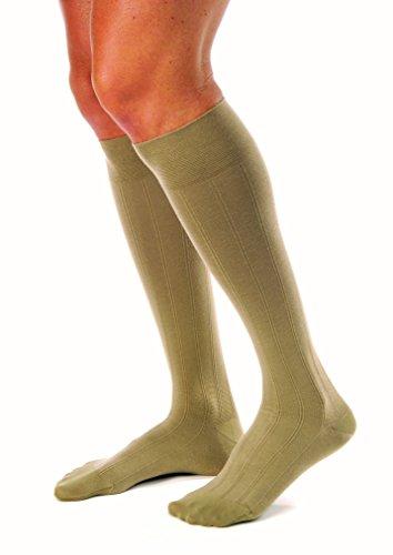 JOBST for Men Casual Knee High 30-40 mmHg Compression Socks, Closed Toe, Large, Khaki