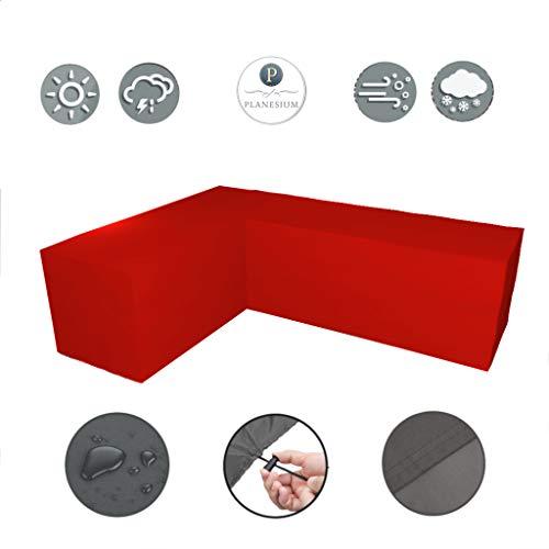 Planesium Premium tuinmeubelen L-vorm lounge meubilair afdekking, balkon outdoor beschermhoes, eetgroep, lounge meubels, set dekzeil, 575 g/m B 237cm x T 237cm x LE 100cm x H 80cm rood