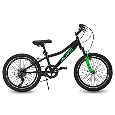 Hiland 20 Inch Kids Bike Mountain Bicycle for Ages 4 5 6 7 8 9 Years Old Boys Girls Black Green