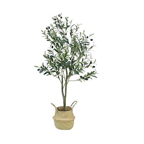 LANHA Künstlicher Olivenpflanzenbaum, Fast Natürlich Gefälschter Olivenbaum Im Topf Mit Rattankorb Für Hausgarten Büro Hochzeit Grün Dekorationen (Multi-größe)