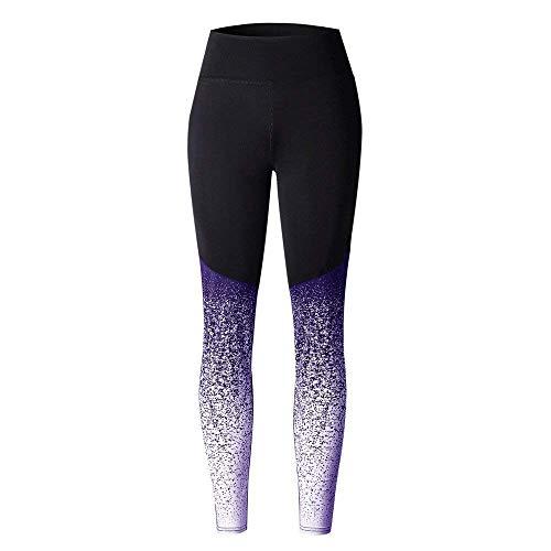 Pantalones Deportivos de Yoga de Cintura Alta para Mujer Pantalones de Estiramiento Estampado con Nueve Puntos