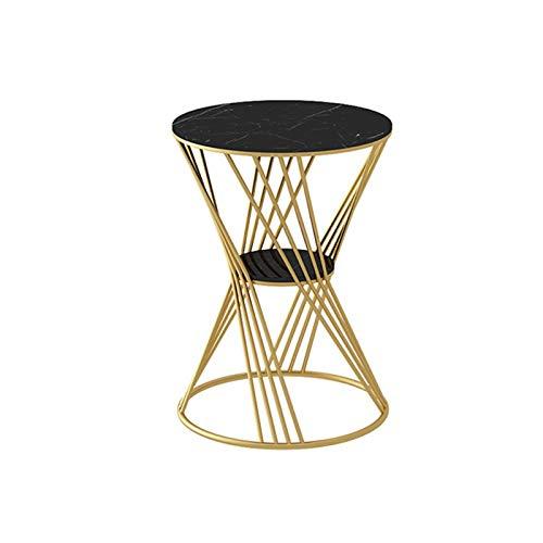 XZGang Flor Decorativa Soporte, mármol Acabado Redondo del Metal Side Table Cafe Estar Balcón Mesa de negociación, Mesa de Bar Vida Sencilla (Color : White, Size : 40 * 40 * 55CM)