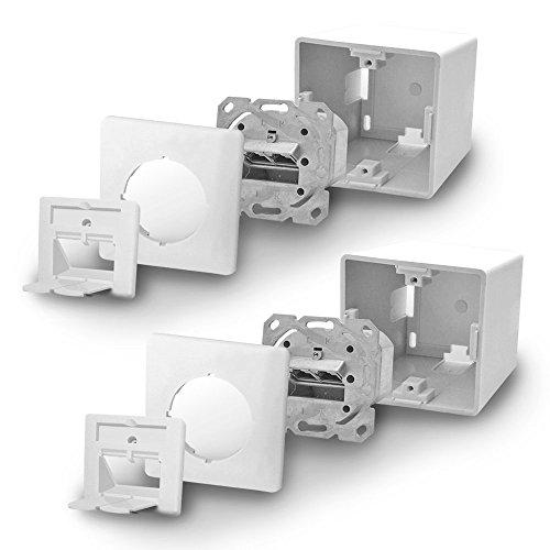 Cat6a Netzwerkdose Netzwerk Dose 2x Cat 6 a 2x RJ45 Port voll geschirmt Metalldurchgussgehäuse Aufputz Unterputz Cat7 Kabel ARLI