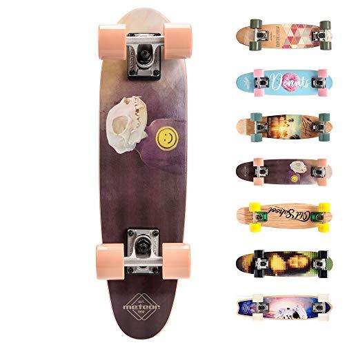 Meteor Skateboard Mini Cruiser Retro Board Completo con Cuscinetti ABEC-7 e Ruote PU Ideale per Bambini e Adolescenti Ragazzo e Ragazza (Smile)