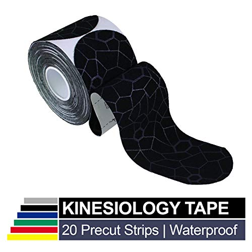 TheraBand Kinesiology Tape Waterproof Physio Tape for Pain Relief Muscle amp Joint Support Standard Roll with XactStretch Application Indicators 2quot X 10quot Strips 20 Precut Strips Black/Gray
