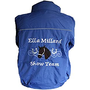 "Customer reviews Personalised embroidered horse and horseshoes Riding Waterproof Jacket (Age 13-14 to fit a 32/33"" chest, Royal):Viralbuzz"