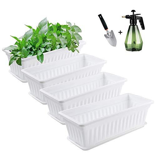 DJLOOKK Macetero con Caja de Ventana, Paquete de 4 maceteros rectangulares de plástico, Maceta suculenta pequeña de 17 Pulgadas con platillo, para decoración de balcón, jardín