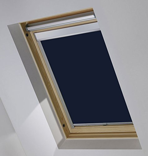 Rapid Teck® Thermo Verdunkelungsrollo passend für Velux Dachfenster / C02 / Dunkel Blau / 100% Verdunkelndes Rollo