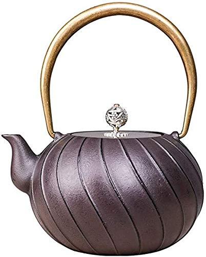 DXP-shop 1.2L Tetera de Hierro Fundido Tetsubin Estilo japonés Tea Pot hervidor de Agua for té Flojo de Cobre de la manija/Tapa de Estilo japonés Caldera