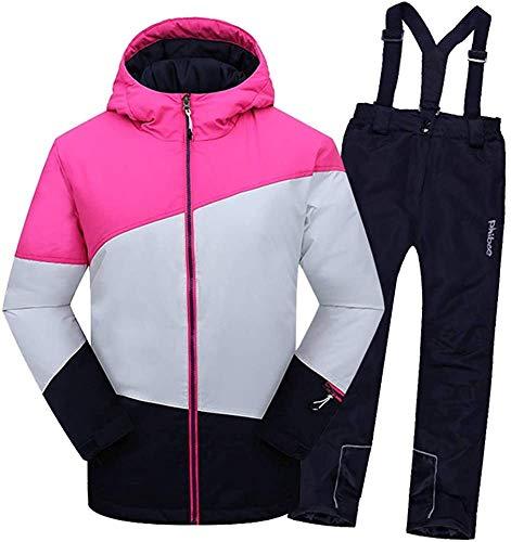 OH Kind Junge Mädchen Skianzug Zwei Sätze Skianzug Set Wasserdicht Windproof Warmer Skijacke + Skihose Schneeanzug Baumwolle/Schwarz / 158/164