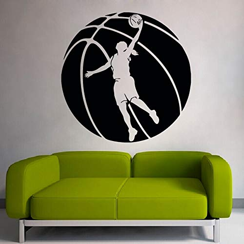 Tianpengyuanshuai basketbalhoegpatroon met basketbalspeler silhouet kunst muur sticker Family Sports Series Decoratie
