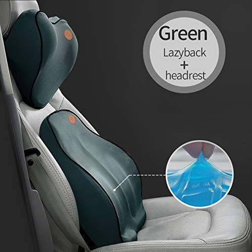 RAQ Auto-kussen, rugkussen, voor auto, stoel, lendensteun, bureaustoel, kussen voor auto, universeel, 3D traagschuim 1 Green Set