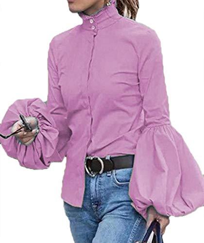 Lässige Langarm-Laterne-Ärmel-Button-Down-Shirt für Damen Bluse Tops Stand Collar Tee Shirt