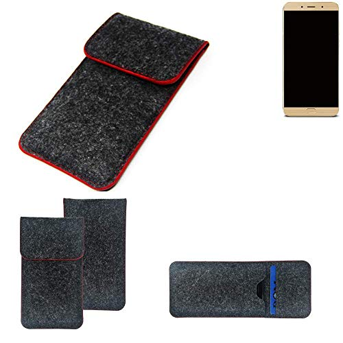 K-S-Trade Handy Schutz Hülle Für Allview X4 Soul Lite Schutzhülle Handyhülle Filztasche Pouch Tasche Hülle Sleeve Filzhülle Dunkelgrau Roter Rand