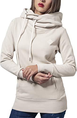Urban Classics Ladies Long Logopatch Hoody Sweat-Shirt à Capuche, Ivoire (Sand 208), XS Femme