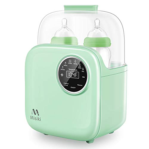 Bottle Warmer, Misiki 6-in-1 Baby Bottle Warmer and Bottle Sterilizer with Smart Temperature Control & Fast Heat for Breast Milk and Formula, Portable Milk Food Heater & Defrost with LCD Touch Display