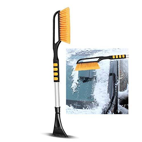 XH 2 in 1 Ice Scraper Removable Snow Brush for Car Auto SUV Truck Windshield (Orange) (Size : 76cm)