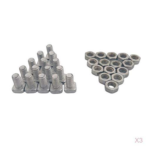 LOVIVER 45 Stück Aluminiumlegierung Vierkantkopf Gewächshausmuttern Und Schrauben