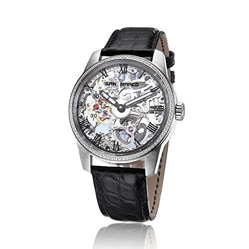 Xinmeitezhubao Reloj automático para Hombres y Mujeres con Correa de Acero Inoxidable Reloj de Pulsera analógico de Esqueleto