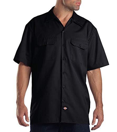 Dickies Herren Regular Fit Freizeit Hemd Shrt/S Work Shirt, Kurzarm, Schwarz (Black BK), Gr. Large (Herstellergröße: L)