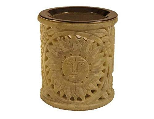Räucherstövchen - Duftlampe Steinsonne aus Speckstein incl. Sieb und Glasschale
