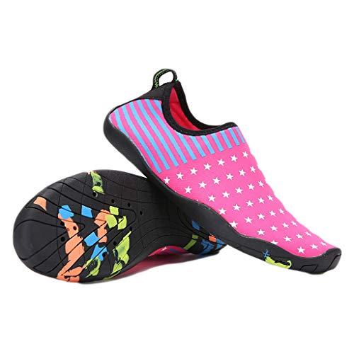 YQQMC Zapatos de agua para mujer Playa Natación Upstream Zapatos antideslizantes de secado rápido para esnórquel, transpirables (Color: Rosa, Talla: 35 EU)