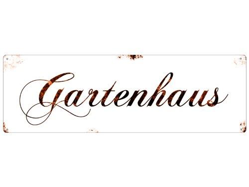 Interluxe Shabby Vintage METALLSCHILD Blechschild Türschild GARTENHAUS Dekoschild Landhaus