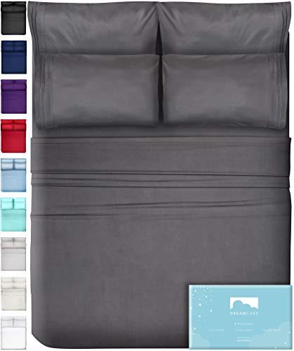 6 Piece Extra Deep Pocket Sheets Microfiber Sheets Bed Sheets Bedding Sets California King Size, Gray