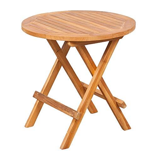 LEBENSwohnART LEBENSwohnART Teak Klapptisch KURSI ca. D50cm Natural Beistelltisch Gartentisch Tisch Massiv