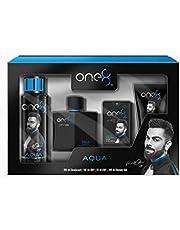 One 8 by Virat Kohli Aqua Gift Set, Blue (EDP, Deo BS, Pocket Spray, Shower Gel)