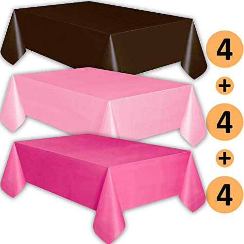 12 Plastic Tablecloths - Brown, Classic Pink, Hot Pink - Premium Thickness Disposable Table Cover, 108 x 54 Inch, 4 Each Color