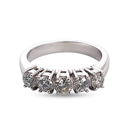 Veretta - Anillo de mujer de oro blanco 18 quilates750 con diamantes 0,80 quilates G H -VVS