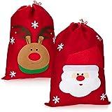 com-four 2X Sacco Regalo XL per Natale con Motivi Natalizi - Sacco di Babbo Natale da riempire - Sacco di Natale per Costume da Babbo Natale