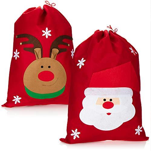 com-four® 2X Sacco Regalo XL per Natale con Motivi Natalizi - Sacco di Babbo Natale da riempire - Sacco di Natale per Costume da Babbo Natale