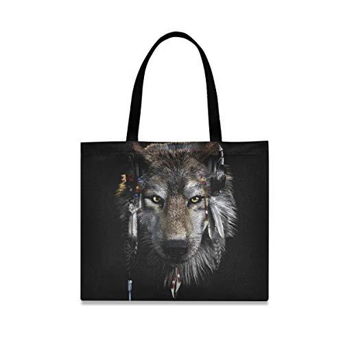 XiangHeFu Reutilizable de gran capacidad de estilo étnico africano Lobo Casual Gym Tote Bag Bolso Moda