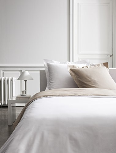 Parure HC3 Percale Bicolore TODAY Premium (Housse de Couette 220/240 + 2 Taies 75/75) - 100% coton - Chantilly / Mastic