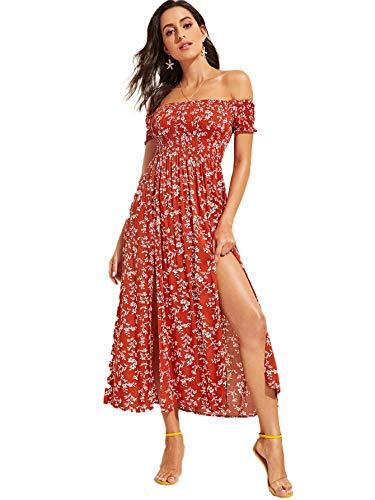 Floerns Women's Boho Floral Print Off Shoulder Split Long A Line Dress Burgundy S