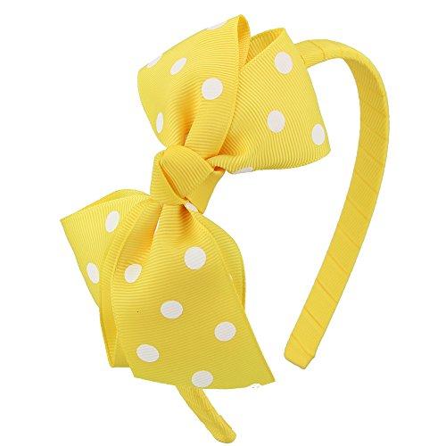 7Rainbows Fashion Polka Dot Yellow Bows Headbands for Toddlers Girls (FS060-645D029)