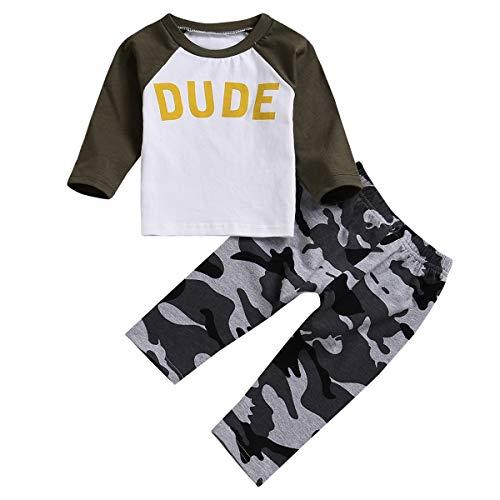 puseky 2 stks/Set Herfst Baby Jongens Kleding Dude Print Lange Mouw Shirt+Camo Lange Broek Outfits Set (Leger Groen+Camo, 6M-12M)