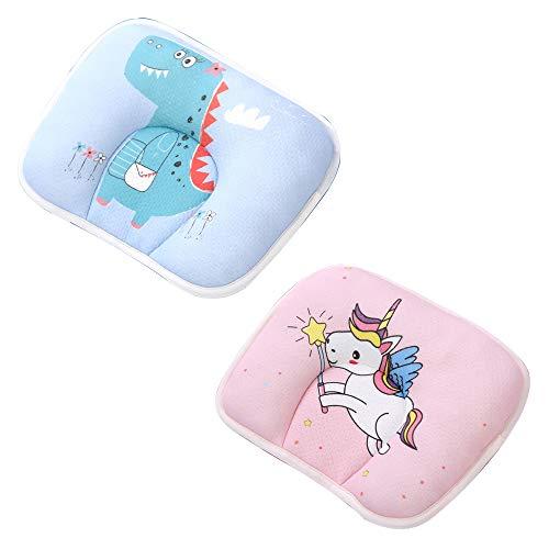 Befitery - Almohada ortopédica para bebé, incluye 2 fundas de almohada y 2 almohadas, de espuma con memoria, para bebés de 0 a 24 meses