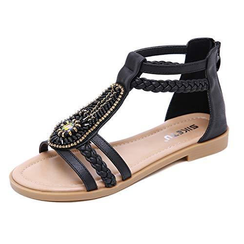 ZAPZEAL Sandalen Damen Sommer Bohemia Schuhe Outdoor Strand Sandaletten mit Blumen & Strass,Schwarz 42 EU