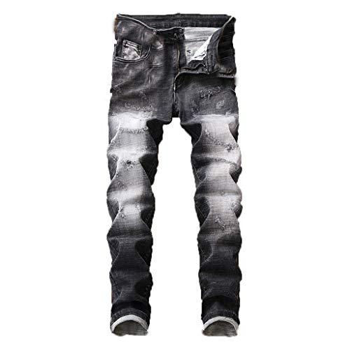cinnamou Hosen Herren Stretch Jeans Ripped Jeans Zerrissene Jeans Loch Jeans Zip Jeans Slim Fit New Buntfalten Hosen Pash Jeans Lange Mode