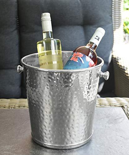 Michael Noll Champagnerkühler, Champagnerschale, Weinkühler, Sektkühler, Flaschenkühler, Aluminium, Silber, XL, Hammerschlag, 28 cm