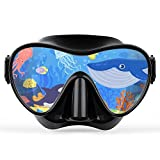 X99 Scuba Mask Kids, Diving Snorkel Frameless Mask Goggles, Anti-Fog Anti-Leak Panoramic Glass for Swimming Diving Snorkeling, Soft Waterproof Silicone Comfortable Children Youth