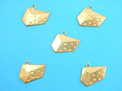 Boutique d'isacrea Set 5 Charms Metal: Gruyere 20 mm – Ciondolo Decorativo in Metallo – DIY per embellissements di Gioielli, Scrapbooking. Métal Doré