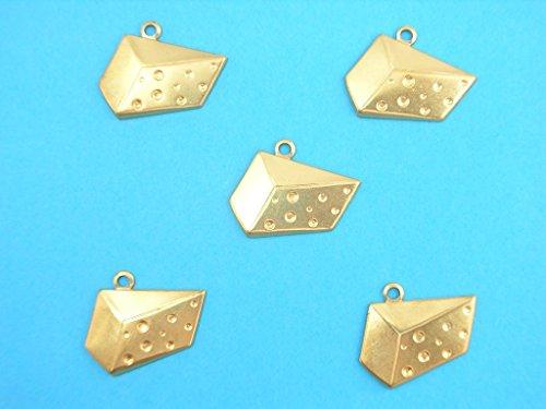 Boutique d'isacrea Set 5Charms Metal: Gruyere 20mm–Ciondolo Decorativo in Metallo–DIY per embellissements di Gioielli, Scrapbooking. Métal Doré